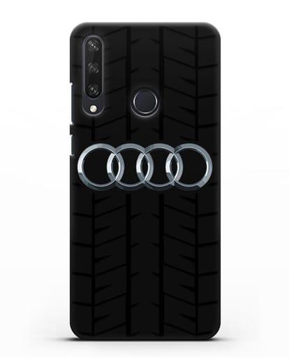 Чехол с логотипом Audi c протектором шин силикон черный для Huawei Y6P