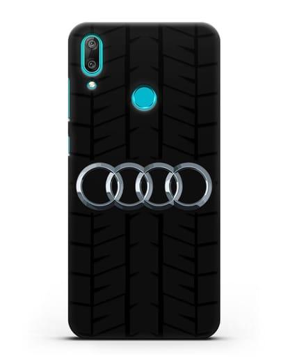 Чехол с логотипом Audi c протектором шин силикон черный для Huawei Y7 2019
