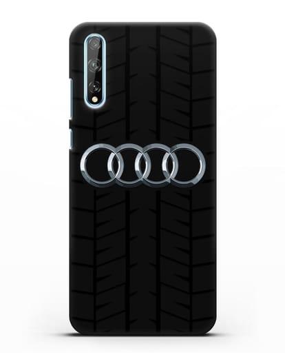 Чехол с логотипом Audi c протектором шин силикон черный для Huawei Y8P