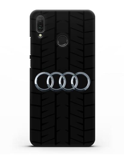 Чехол с логотипом Audi c протектором шин силикон черный для Huawei Y9 2019