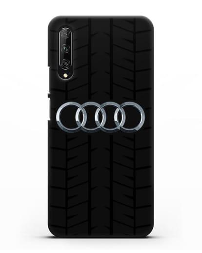 Чехол с логотипом Audi c протектором шин силикон черный для Huawei Y9s