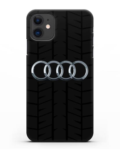 Чехол с логотипом Audi c протектором шин силикон черный для iPhone 11