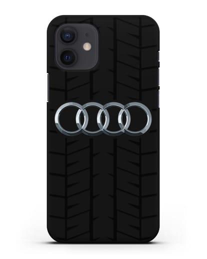 Чехол с логотипом Audi c протектором шин силикон черный для iPhone 12