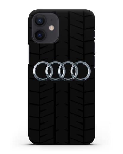 Чехол с логотипом Audi c протектором шин силикон черный для iPhone 12 mini