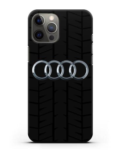 Чехол с логотипом Audi c протектором шин силикон черный для iPhone 12 Pro Max