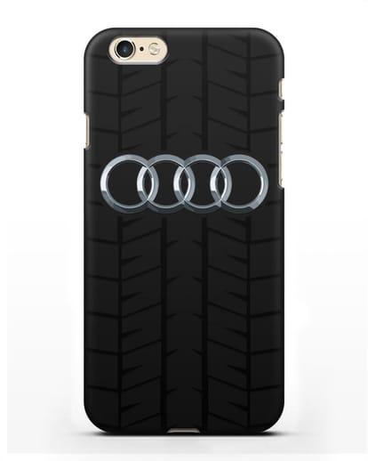Чехол с логотипом Audi c протектором шин силикон черный для iPhone 6