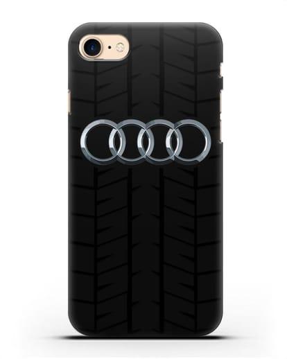 Чехол с логотипом Audi c протектором шин силикон черный для iPhone 8