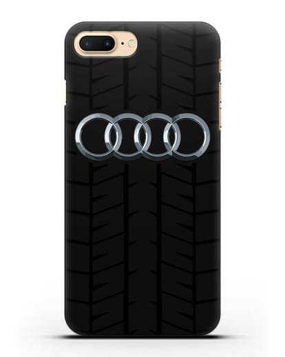 Чехол с логотипом Audi c протектором шин силикон черный для iPhone 7 Plus