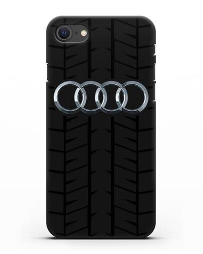 Чехол с логотипом Audi c протектором шин силикон черный для iPhone SE 2020