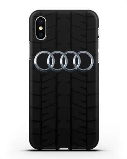 Чехол с логотипом Audi c протектором шин силикон черный для iPhone X