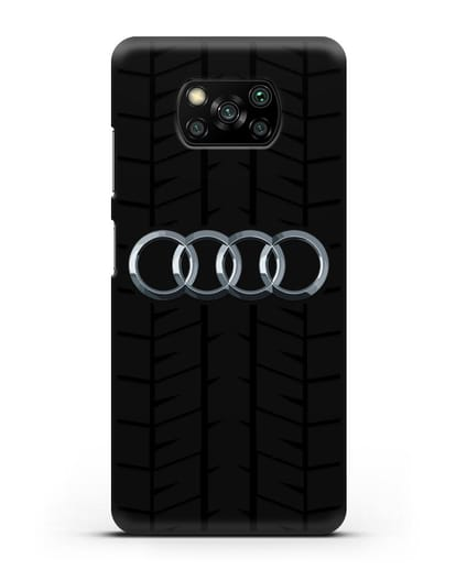 Чехол с логотипом Audi c протектором шин силикон черный для Xiaomi Poco X3 Pro