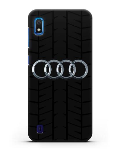 Чехол с логотипом Audi c протектором шин силикон черный для Samsung Galaxy A10 [SM-A105F]