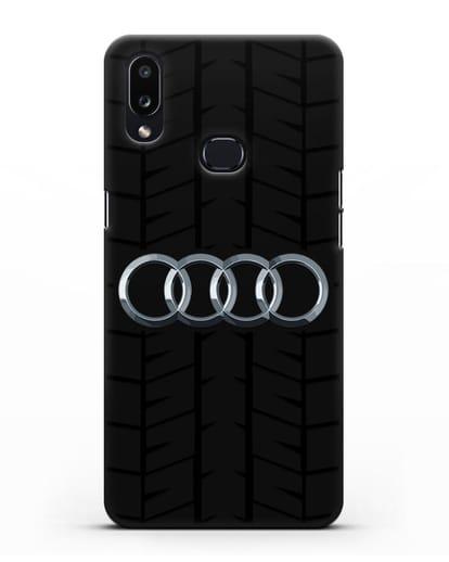 Чехол с логотипом Audi c протектором шин силикон черный для Samsung Galaxy A10s [SM-F107F]