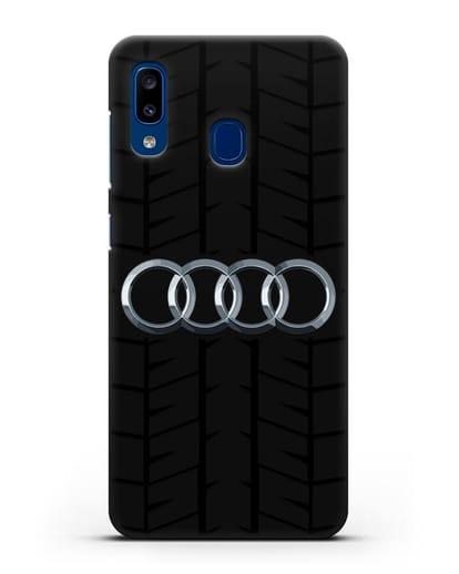 Чехол с логотипом Audi c протектором шин силикон черный для Samsung Galaxy A20 [SM-A205FN]