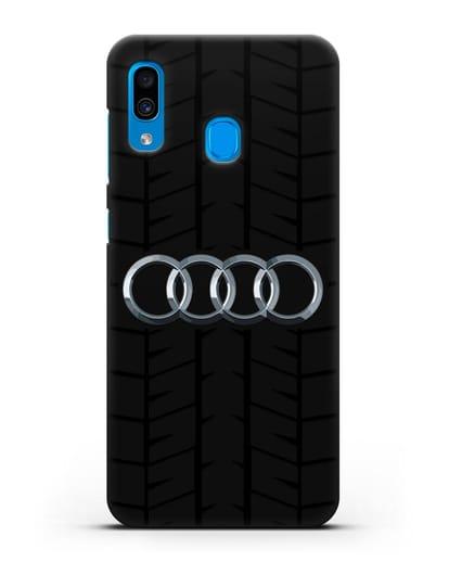 Чехол с логотипом Audi c протектором шин силикон черный для Samsung Galaxy A30 [SM-A305FN]