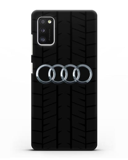 Чехол с логотипом Audi c протектором шин силикон черный для Samsung Galaxy A41 [SM-A415F]