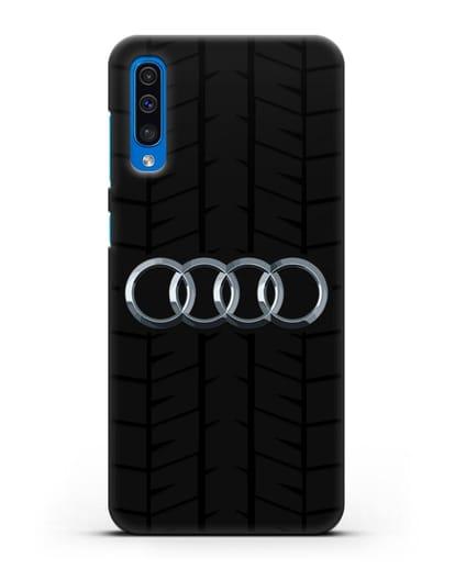 Чехол с логотипом Audi c протектором шин силикон черный для Samsung Galaxy A50 [SM-A505F]