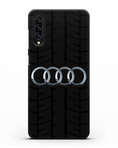 Чехол с логотипом Audi c протектором шин силикон черный для Samsung Galaxy A50s [SM-F507FN]