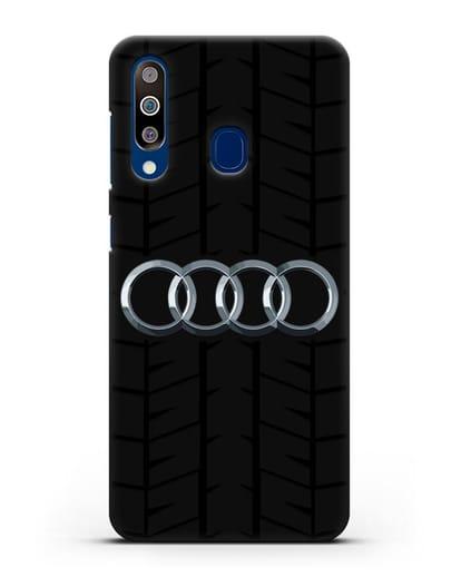 Чехол с логотипом Audi c протектором шин силикон черный для Samsung Galaxy A60 [SM-A606F]