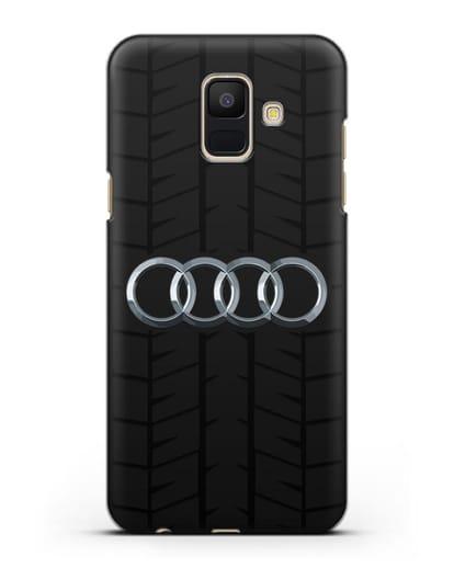 Чехол с логотипом Audi c протектором шин силикон черный для Samsung Galaxy A6 2018 [SM-A600F]