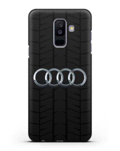 Чехол с логотипом Audi c протектором шин силикон черный для Samsung Galaxy A6 Plus 2018 [SM-A605F]