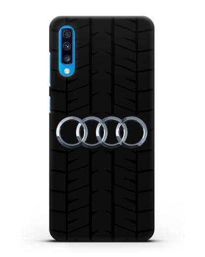 Чехол с логотипом Audi c протектором шин силикон черный для Samsung Galaxy A70 [SM-A705F]