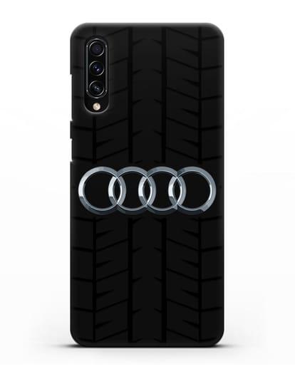 Чехол с логотипом Audi c протектором шин силикон черный для Samsung Galaxy A70s [SM-A707F]