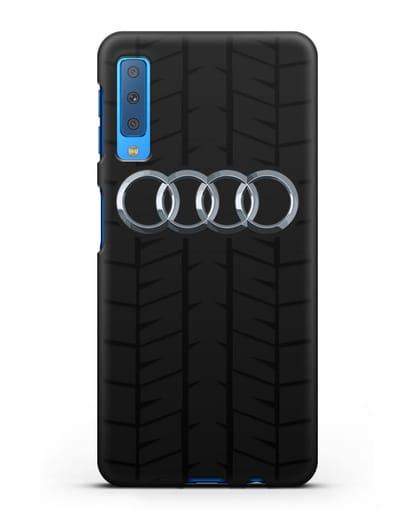 Чехол с логотипом Audi c протектором шин силикон черный для Samsung Galaxy A7 2018 [SM-A750F]