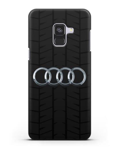 Чехол с логотипом Audi c протектором шин силикон черный для Samsung Galaxy A8 Plus [SM-A730F]
