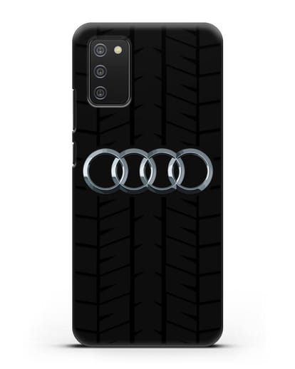 Чехол с логотипом Audi c протектором шин силикон черный для Samsung Galaxy A02s [SM-A025F]
