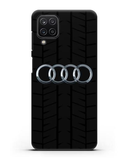 Чехол с логотипом Audi c протектором шин силикон черный для Samsung Galaxy A12 [SM-A125F]