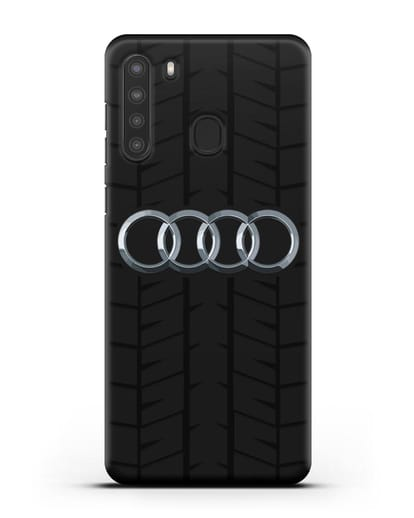 Чехол с логотипом Audi c протектором шин силикон черный для Samsung Galaxy A21 [SM-A215]