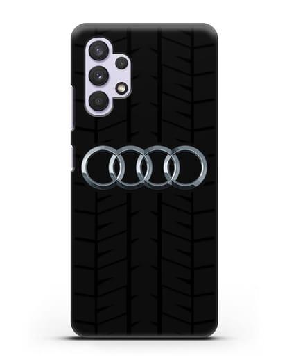 Чехол с логотипом Audi c протектором шин силикон черный для Samsung Galaxy A32 4G [SM-A325F]