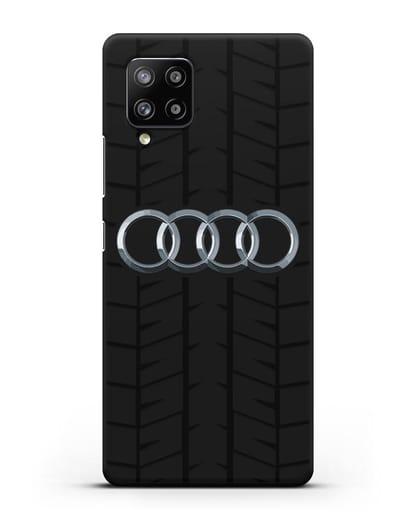 Чехол с логотипом Audi c протектором шин силикон черный для Samsung Galaxy A42 [SM-A426B]