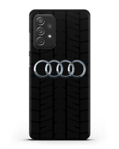 Чехол с логотипом Audi c протектором шин силикон черный для Samsung Galaxy A72 [SM-A725F]