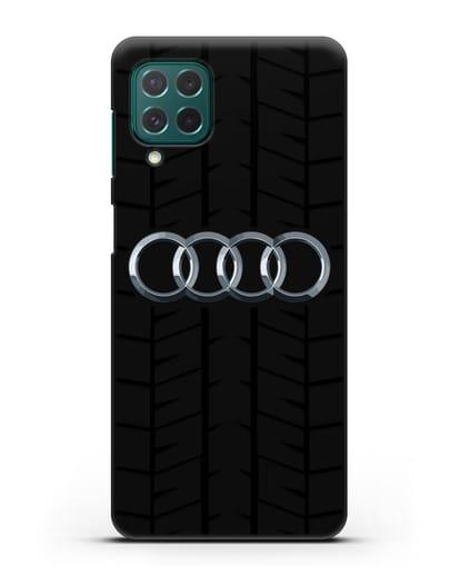 Чехол с логотипом Audi c протектором шин силикон черный для Samsung Galaxy M62 [SM-M625F]