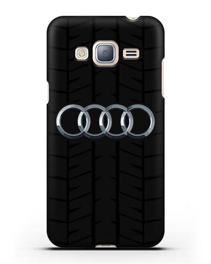 Чехол с логотипом Audi c протектором шин силикон черный для Samsung Galaxy J3 2016 [SM-J320F]