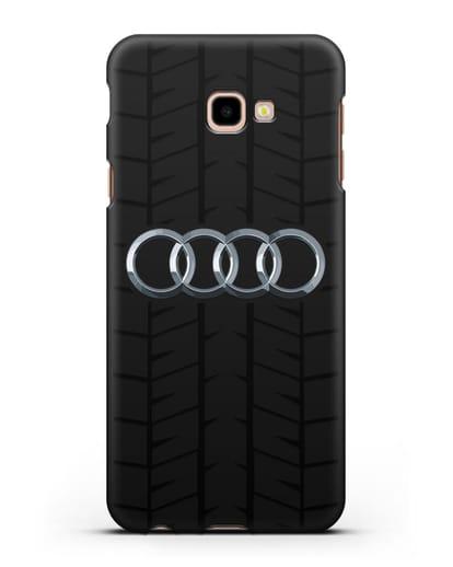 Чехол с логотипом Audi c протектором шин силикон черный для Samsung Galaxy J4 Plus [SM-J415]