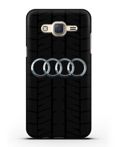 Чехол с логотипом Audi c протектором шин силикон черный для Samsung Galaxy J7 2015 [SM-J700H]