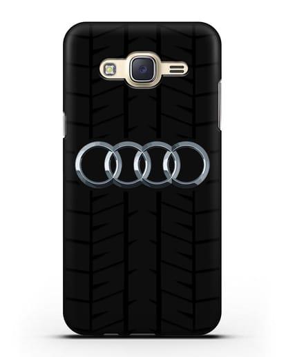 Чехол с логотипом Audi c протектором шин силикон черный для Samsung Galaxy J7 Neo [SM-J701F]