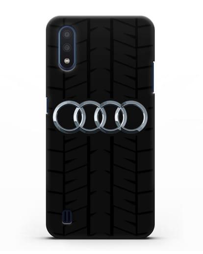 Чехол с логотипом Audi c протектором шин силикон черный для Samsung Galaxy M01 [SM-M015F]