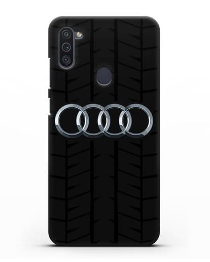 Чехол с логотипом Audi c протектором шин силикон черный для Samsung Galaxy M11 [SM-M115F]