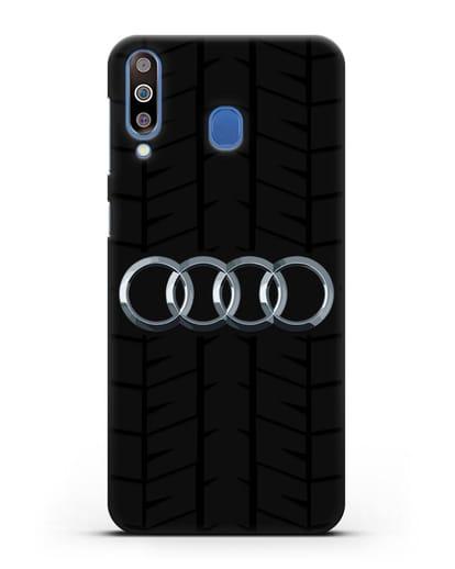 Чехол с логотипом Audi c протектором шин силикон черный для Samsung Galaxy M30 [SM-M305F]