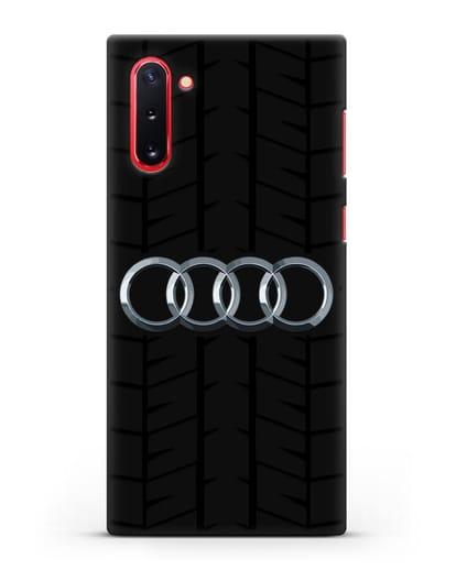 Чехол с логотипом Audi c протектором шин силикон черный для Samsung Galaxy Note 10 [N970F]