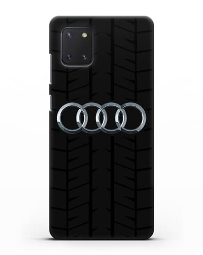Чехол с логотипом Audi c протектором шин силикон черный для Samsung Galaxy Note 10 Lite [N770F]