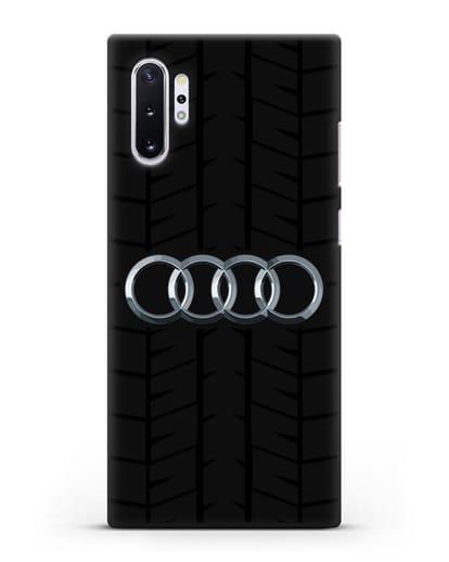 Чехол с логотипом Audi c протектором шин силикон черный для Samsung Galaxy Note 10 Plus [N975F]