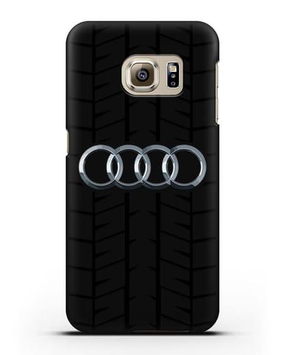 Чехол с логотипом Audi c протектором шин силикон черный для Samsung Galaxy S6 Edge [SM-G925F]