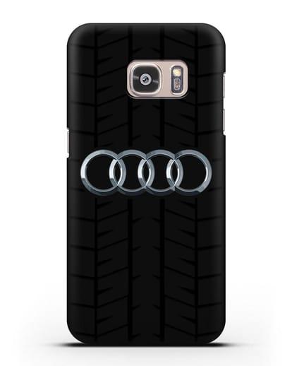 Чехол с логотипом Audi c протектором шин силикон черный для Samsung Galaxy S7 [SM-G930F]