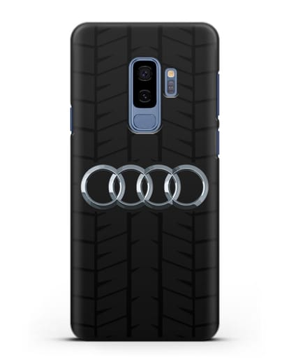 Чехол с логотипом Audi c протектором шин силикон черный для Samsung Galaxy S9 Plus [SM-G965F]