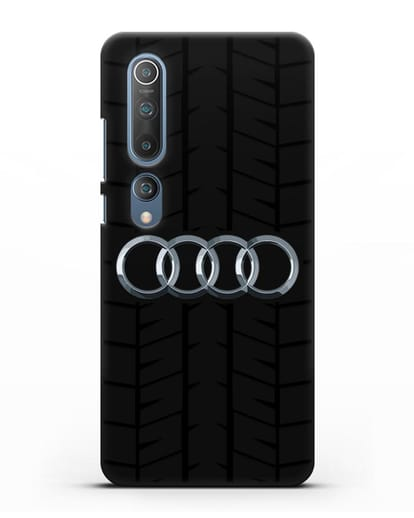 Чехол с логотипом Audi c протектором шин силикон черный для Xiaomi Mi 10 Pro